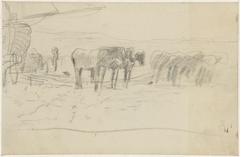 Paarden voor een schuit