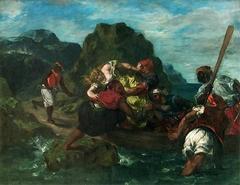 Pirates africains enlevant une jeune femme