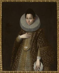 Portrait of a woman in brown dress.