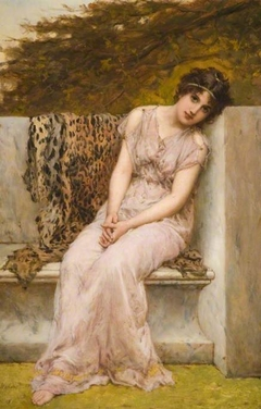 Portrait Of A Young Woman Sitting On Marble Seat
