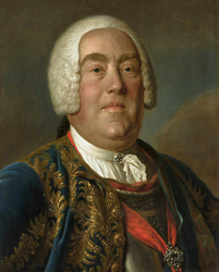 Portrait of Augustus III of Poland in blue coat and cuirass.