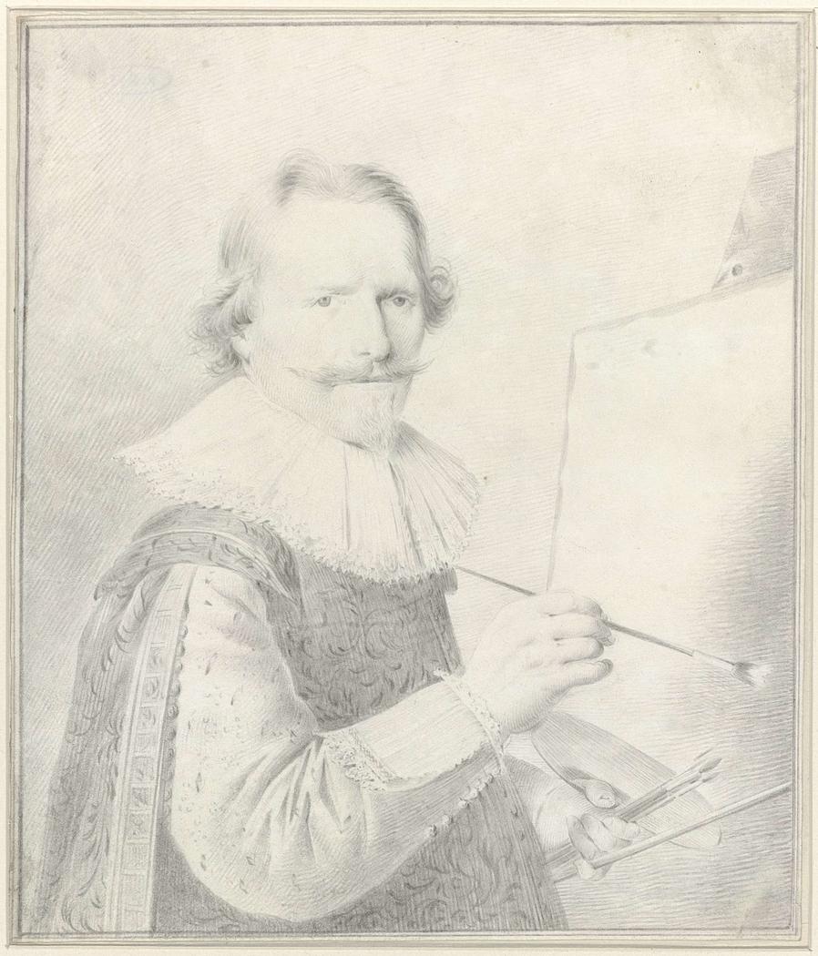 Portret van de schilder Frederik Hendricksz. Vroom, staande voor een schildersezel