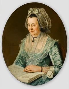 Portret van een onbekende vrouw met een boek