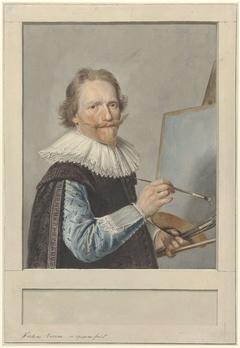 Portret van Frederik Hendricksz. Vroom voor zijn schildersezel
