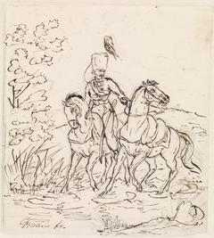 Ruiter bedwingt een paard zonder berijder