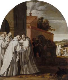 Saint Bernard of Clarivaux visits Guigo I at the Charterhouse