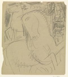 Schetsblad met twee paarden