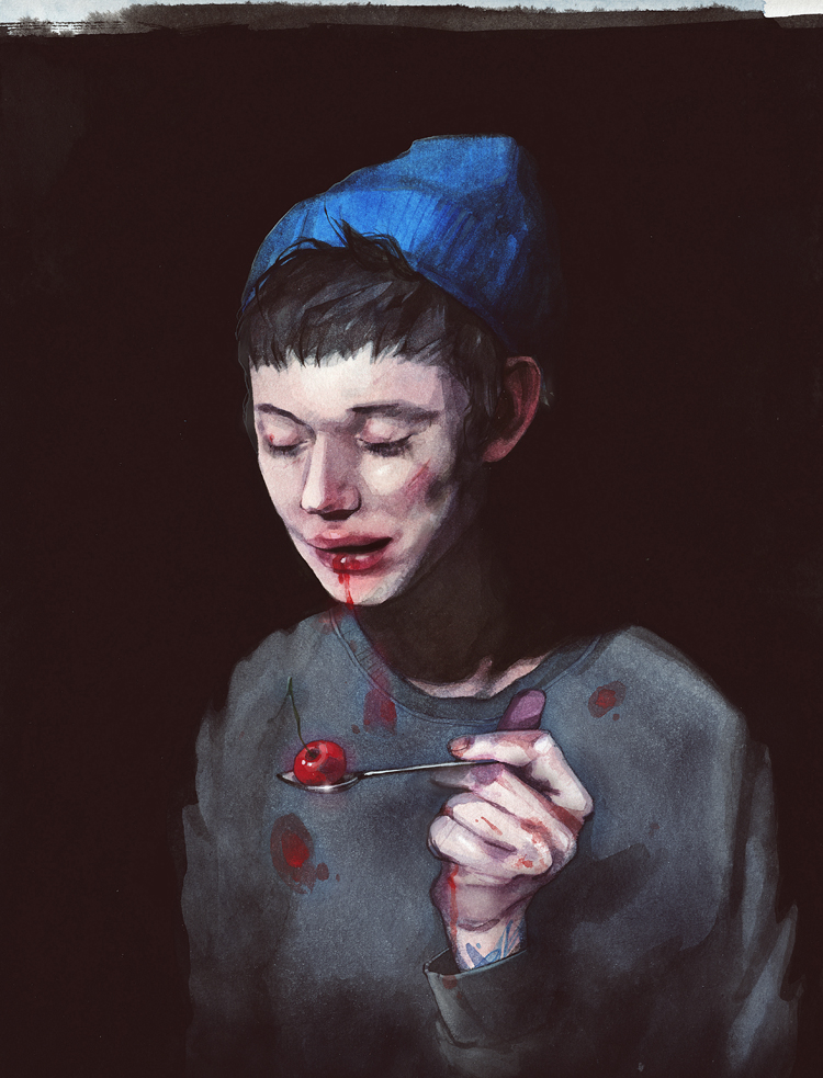 Self-portrait with a cherry
