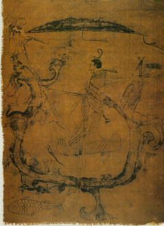 silk painting depicting a man riding a dragon
