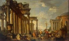 St Sibyl's Sermon in Roman Ruins with the Statue of Apollo