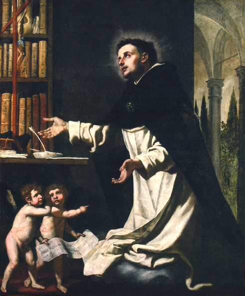 St. Thomas Aquinas in Ecstacy in His Library with Two Angels