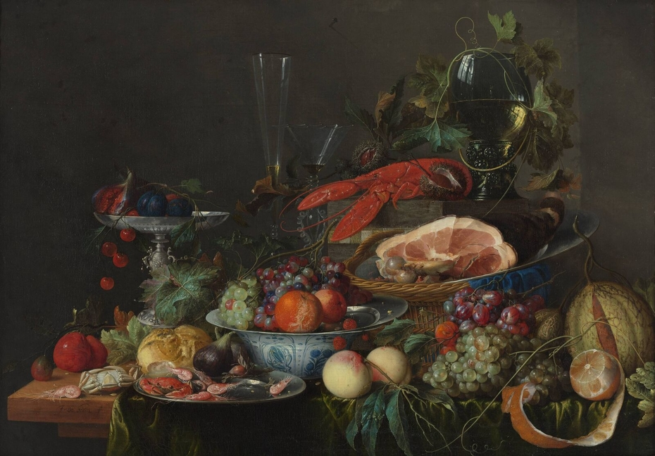Still life with ham, lobster and fruit