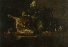 Still life with meat and dead birds