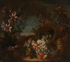 Still Life with Squirrel, Flowers and Fruit in a Landscape