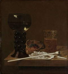 Still life with wineglass, beer glass and pipe
