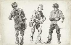 Studieblad met een jager (?) op de rug gezien, een soldaat en een visser