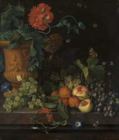 Terracotta Vase with Flowers and Fruits