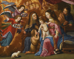 The Holy Family with Saint John the Baptist, Saint Elizabeth and Angels