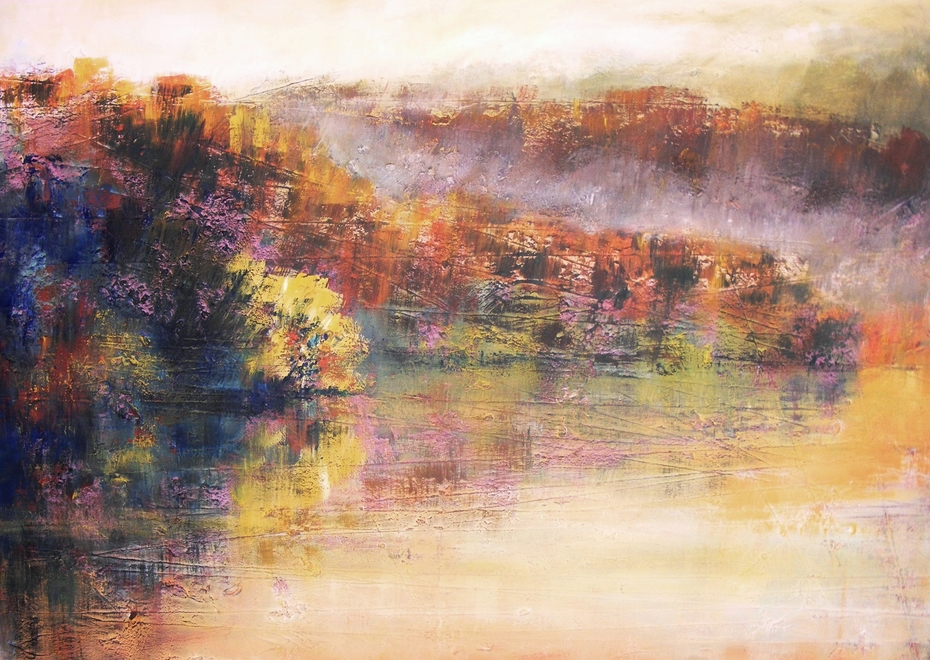The impression of mist on the lake
