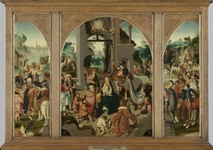 Triptych with Adoration of the Magi (center and inner wings), Saint Antony Abbot (left, outer wing) and Saint Adrian (right, outer wing)