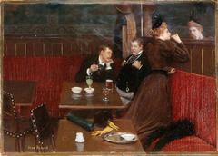 Trois personnages dans un café