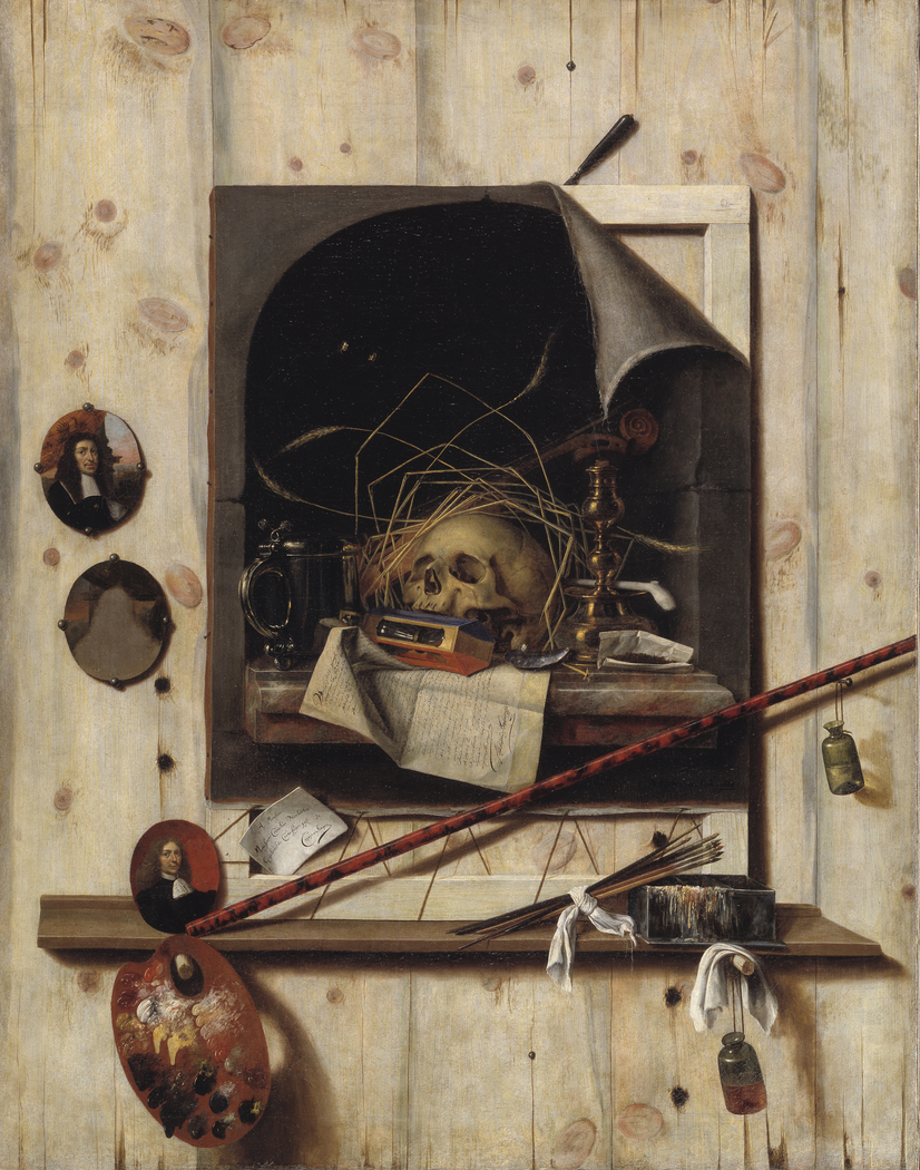 Trompe l'oeil with Studio Wall and Vanitas Still Life