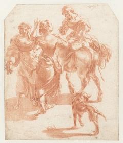 Twee lopende vrouwen en een vrouw op een ezel