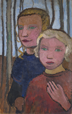 Two Girls in Front of Birch Trees