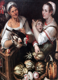 Two market women and a boy with chicken and vegetables