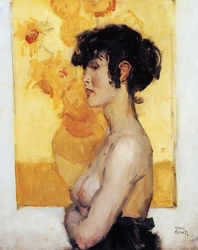 Woman before ''Sunflowers'' by van Gogh