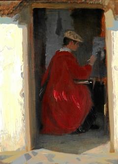 Dansk: Marie Krøyer malende i Ravollo