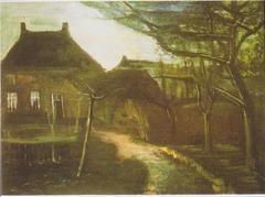 The vicarage in Nuenen in the moonlight