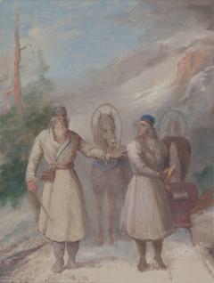 Väinämöinen and Joukahainen, sketch