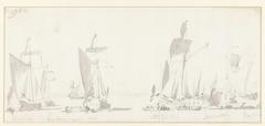 Vertrek van de Engelse koning Karel II tijdens zijn tocht over de Thames naar Sheerness en Chatham op 27 Augustus 1681
