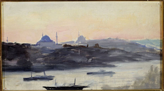 View of the city in the evening. From the journey to Constantinople