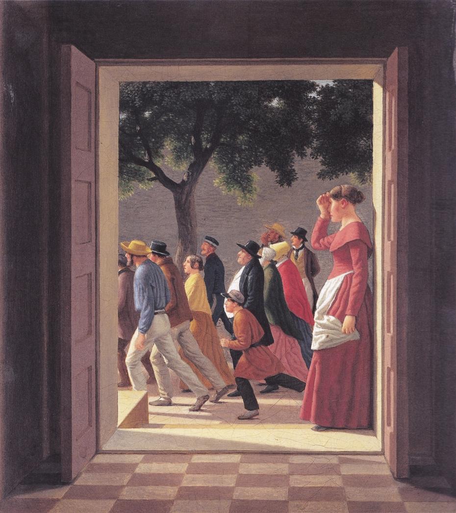 View through a door to running figures