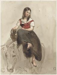 Vrouw op een paard gezeten met kan