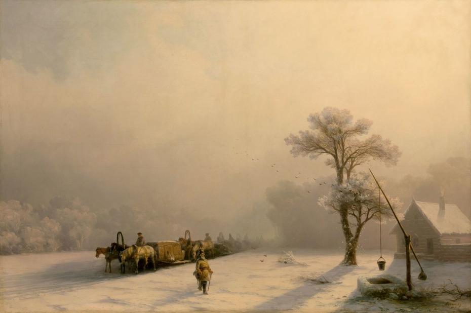 Winter Caravan on Road