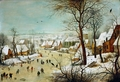 Winter landscape with skaters and bird trap