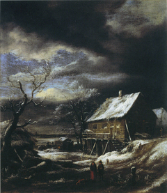 Winter Landscape with Wooden House