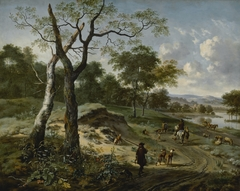 Wooded Evening Landscape with a Hunter and His Dogs
