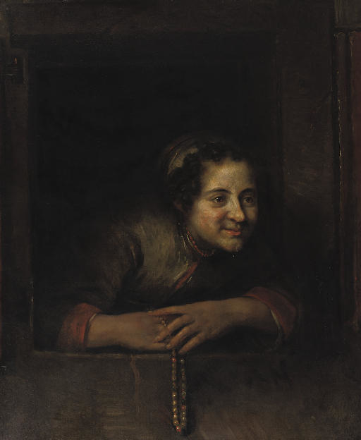 Young woman leaning out of a window; holding a necklace