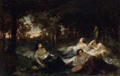 Young Women Resting in a Forest Clearing