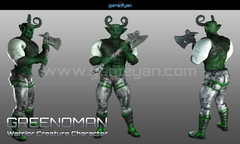 3D Greenoman Warrior Character Modeling by Gameyan Character Design Studio - Germany