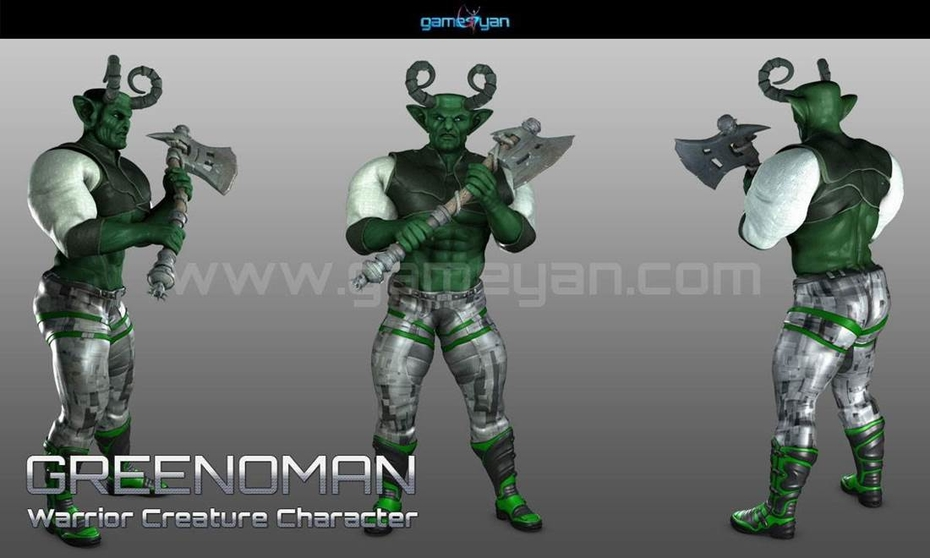 3D Greenoman Warrior Character Modeling by Gameyan Character