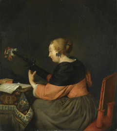A Lady Seated Playing the Lute