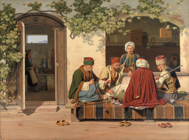 a party of chess players outside a turkish coffeehouse and
