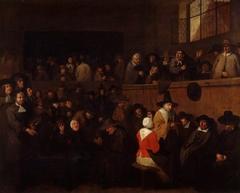 A Puritan Meeting, with a Self-portrait of Egbert Van Heemskerck (c.1635-1704)