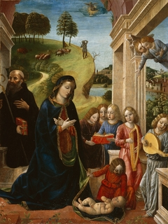 Adoration of the Child with St. Benedict and Angels