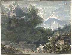 Baders bij antiek monument in bergachtig landschap